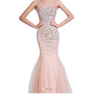 Boutique Pink/Rose Gold Bejeweled Mermaid Dress